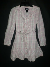 H&M Girls Pink Plaid Button Down Long Sleeve Dress Size 116 5-6 - $10.88