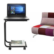 C-Shaped Side Table Computer Tray Sofa Couch End Table wheelsRolling Lap... - $82.23 CAD