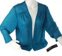 Rafaella 3/4 sleeve open front cardigan sweater tahitian blue Size 2XL N... - $33.24