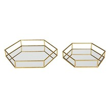 Kate and Laurel Felicia Metal Mirrored Ornate Decorative Trays Set of 2,... - £50.79 GBP