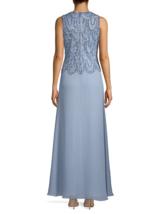 J Kara Sleeveless Evening Gown Dusty Blue/Silver Size 12 $269 image 2