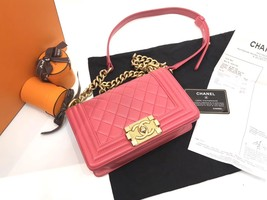 AUTHENTIC CHANEL PINK QUILTED LAMBSKIN SMALL BOY FLAP BAG GHW WITH RECEIPT image 6