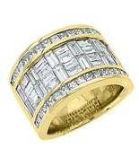 MENS 6 CARAT PRINCESS BAGUETTE CUT DIAMOND RING WEDDING BAND 18KT YELLOW... - $7,915.05