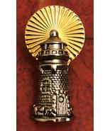 Vintage Gold Tone Enamel Lighthouse Light House Pin Jewelry - $11.30