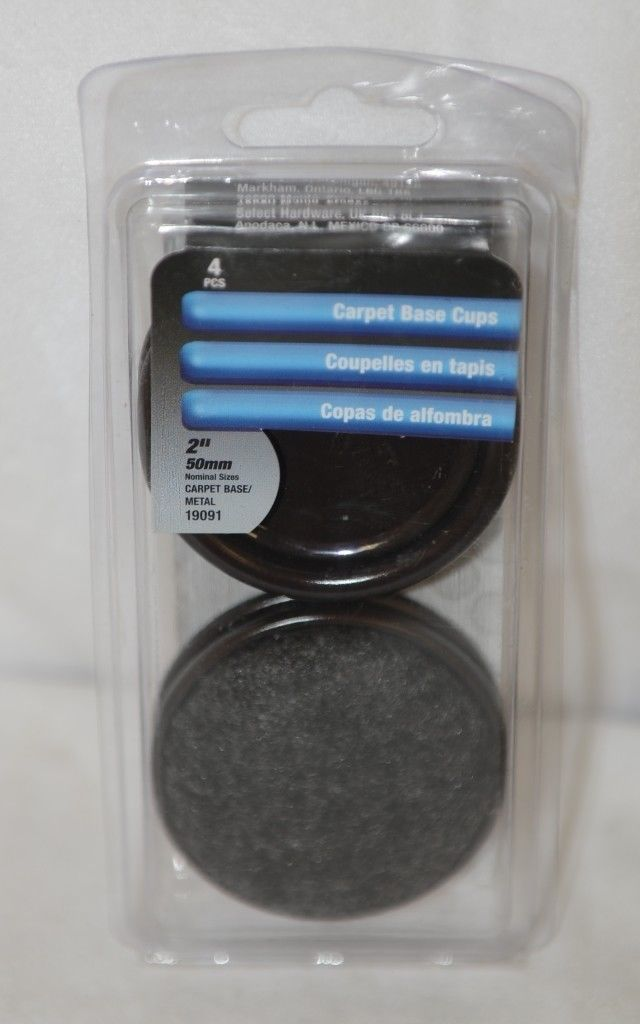 Shepherd 19091 Carpet Base Furniture Cups Two Inch 4 Pack