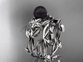 Tahitian Black Pearl Wedding Ring Sets 14kt White Gold Flower Ring ABP424S - $1,145.00
