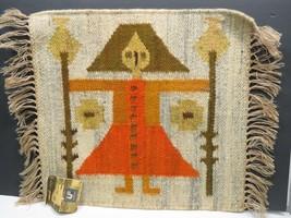 Vtg Handwoven Wool Poland Folk Art Rug Tapestry Cepelia Girl Woman Wanda... - $232.65