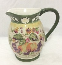 """Fall Autumn Pitcher 7.5"""" tall Marked WCL Embossed Top Fruits Green Milk ... - $17.81"""