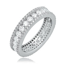 ZirconZ-Pave + Round Signity CZ Sterling Silver Eternity Aniversary Band Ring - $69.99