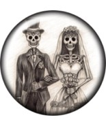 Snap button Halloween Skeleton Wedding Couple 18mm Cabochon chunk charm - $6.73