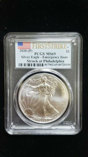 2020 (P) Silver Eagle PCGS MS 69 FS Emergency Issue White Spots Flag Coin 8100