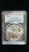 2020 (P) Silver Eagle PCGS MS 69 FS Emergency Issue White Spots Flag Coin 8100 image 1
