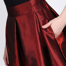 Women BURGUNDY A-Line MAXI Ruffle Skirt Outfit Taffeta Party Skirt High Waisted  image 3