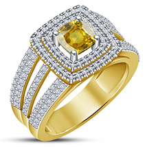 Women's Wedding Band Ring Cushion Cut Yellow Sapphire 18k Gold Plated 92... - ₨5,963.20 INR