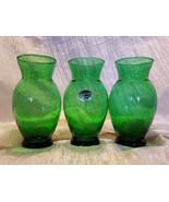 Vintage Anchor Hocking 6 3/8 in. Forest Green Flared Vases - Set of 3, 1... - $16.20
