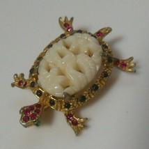 Vintage Signed DeNicola Gold-tone Multi-color Rhinestone Turtle Brooch Rare! - $84.15