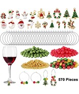 WILLBOND 670 Pieces Christmas Wine Glass Charms Assorted Enamel Charm Pe... - $32.20