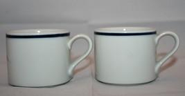 Set of 2 Dansk Christianshavn Blue Coffee Tea Mug Cups White Japan Denmark - $34.38