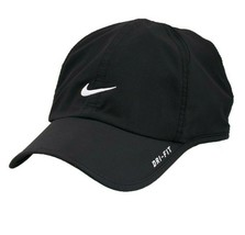 NEW! RARE Black/White NIKE Men-Women's Tennis Cap DRI-FIT Run Hat Feathe... - $148.38