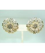 SARAH COV Vintage Gold tone Flower Clip Retro Chunky statement Earrings - $9.85