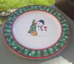 "Longaberger Snowman Christmas Tree Holiday  Plate 8 3/8"" Diameter - $7.99"