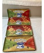 4) COFFEE PLATES    ESPRESSO  /  MACCHIATO    5 X 10      FREE SHIP  VGC - $37.80