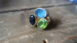 Vintage Handmade Multi Color Gemstone Ring Size 6 - $19.79