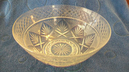 VINTAGE CRYSTAL GLASS BOWL, DIAMOND PATTERN WITH LEAVES - $296.99