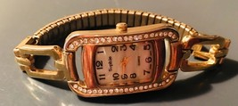 Vintage Sophie Gold Crystal Tone Rectangle Bracelet Watch - $5.93