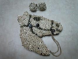 VINTAGE 40's Sequined White & Black Beaded Felt Horse Pin Brooch & Earri... - $33.77