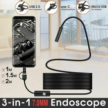 USB Mini Endoscope Camera 7mm 2m 1m 1.5m Flexible Hard Cable Snake Bores... - $7.79+