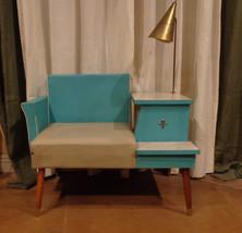 Rare Vintage 1950's Atomic Aquamarine Gossip Phone Chair Bench Table Wit... - $694.40