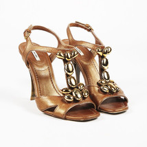 Miu Miu Metallic Gold Leather Embellished Sandals SZ 38 - $160.00