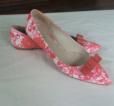 Coach Flats 9 M Warwick Leather Pink Print Bows Pointed Toe USED - $14.74