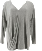 Soft Cozy Cool Luxe Knit Drape-Front Top Heather Gray XL NEW 613-742 - $13.83