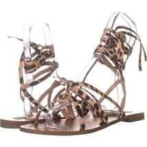 Steve Madden Carmen Flat Lace Up Sandals 568, Leopard, 10 US - $27.83