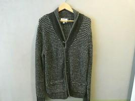 Mens rag & bone New York Black Speckled Shawl Collar Heavy Duty Sweater ... - $49.49
