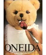 1987 Oneida Cutlery Silverware Teddy Bear Print Advertisement Vintage 1980s - $7.92