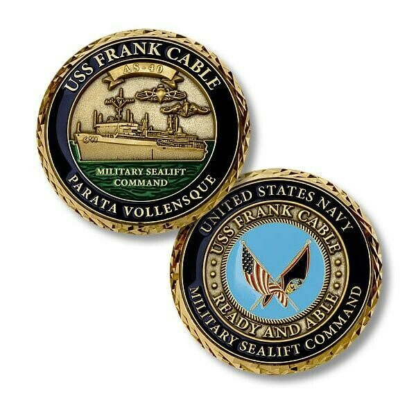 "Primary image for NAVY USS FRANK CABLE AS-40  1.75"" CHALLENGE COIN"