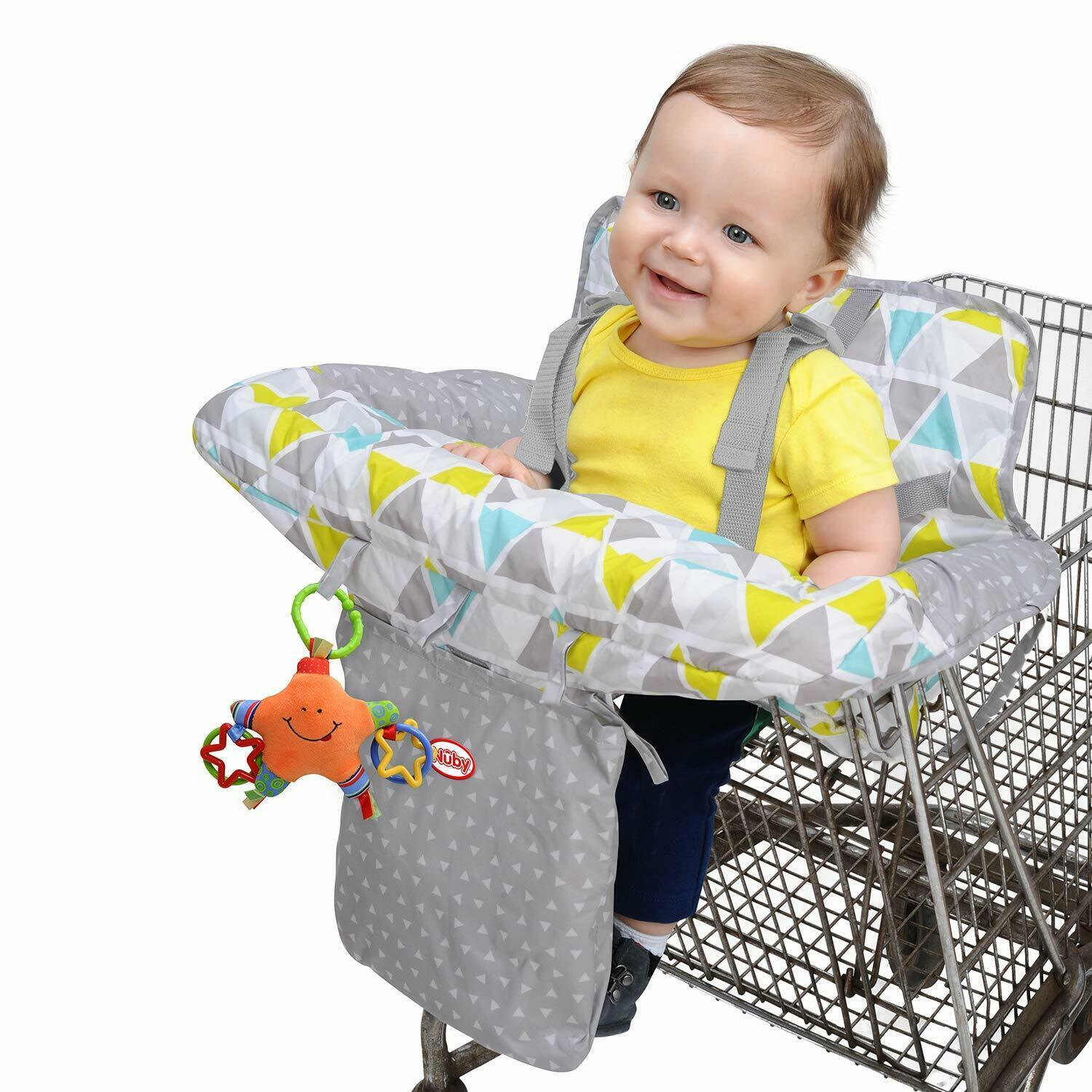 Primary image for Nuby Baby Shopping Cart Cover and High Chair Cover 2 in 1 Geometric Triangles