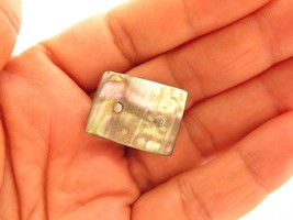 Pretty Small Antique Rectangular Abalone Shell Victorian Pin Brooch*F429 - $14.80