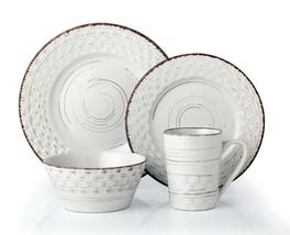 LORREN HOME TRENDS 16 PIECE DISTRESSED WEAVE DINNERWARE SET-WHITE - $89.05