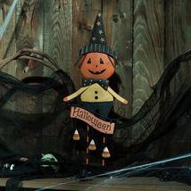 Iron Halloween Pumpkin Man, Outdoor Indoor Decoration - $27.00