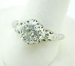 14k White Gold Art Deco .75ct Genuine Natural Diamond Filigree Ring (#J4... - $2,750.00