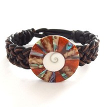 BLACK ORANGE LEATHER WOVEN TIE ON FRIENDSHIP BRACELET WITH ABALONE CORAL... - $9.45