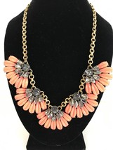 J CREW Necklace Gold Tone Chain  Orange Enamel Charcoal Rhinestones B4103 - $84.54
