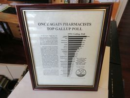 "Once Again PHarmacists Top Gallup Pole , Plaque , 9"" x 11"" , Rx , Pharmacy ,1992 image 4"