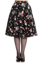 Hell Bunny Blitzen 50's Circle Skirt black New Size X-Small Christmas print - $19.99