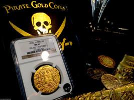 """Peru 1712 8 Escudos Ngc 61 """"1715 Plate Fleet Shipwreck"""" Gold Doubloon Cob - $29,500.00"""