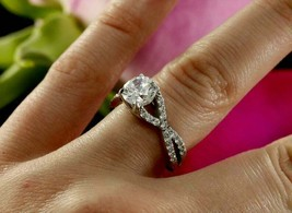2.30Ct Round Cut White Diamond Twisted Shank Engagement Ring in 14K Whit... - £203.75 GBP